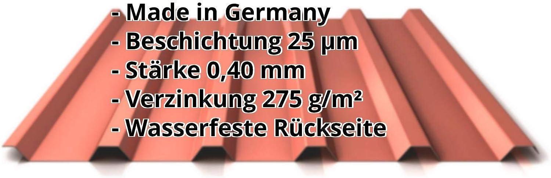 Profil PS35//1035TR Profilblech Material Stahl Trapezblech Farbe Rotbraun Beschichtung 25 /µm St/ärke 0,40 mm Dachblech
