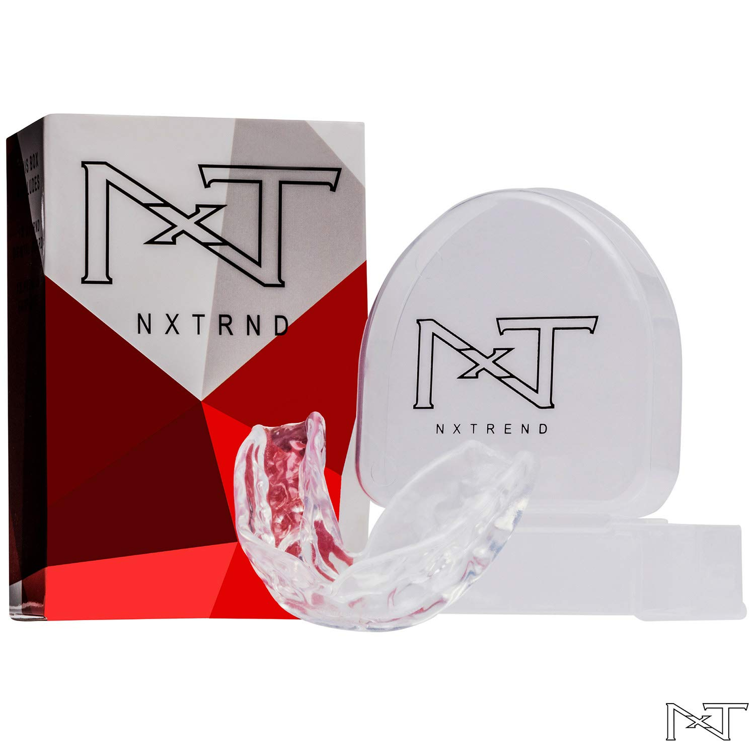 Mouth Guard for Grinding Teeth – Professional Night Guards for Teeth Grinding, Mouth Guard Sports, Dental Sleep Guard Stops TMJ, Bruxism, Teeth Clenching, Anti-Bacterial Case & Earplugs Included by NXTRND USA (Image #1)