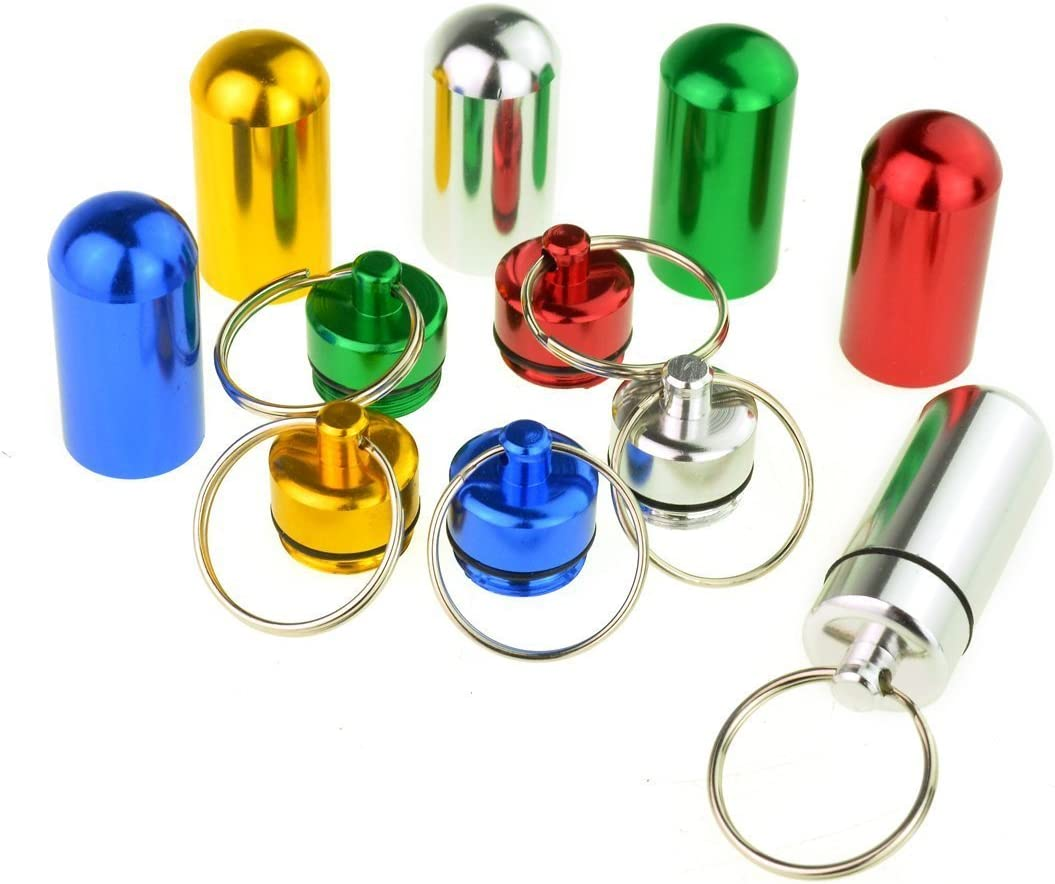 High Quality Aluminum Pill Box Case Outdoor Emergency Bottle Holder Keychain UK