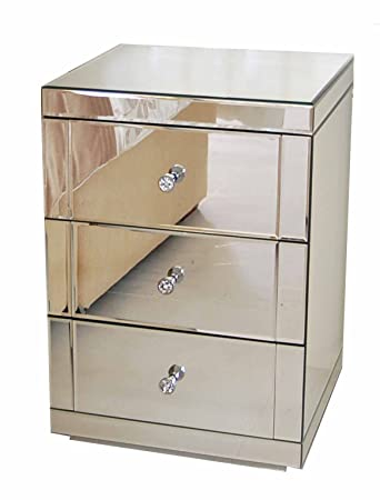 My Furniture Toughened Mirrored Furniture Bedside Table Cabinet 3