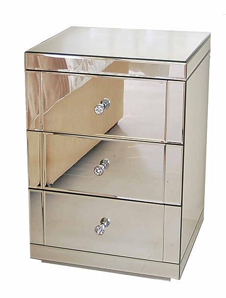 My-Furniture - Espejo muebles mesita de noche 3 cajones del gabinete - (rango de chelsea) - lucia
