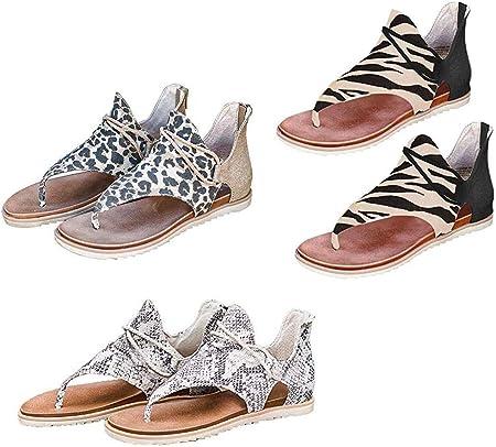 Sandalias de Chancletas con Cremallera de Leopardo Retro para Mujer Zapatos de Sandalias Cruzadas con Correa de Cuerda Cruzada