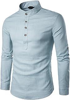 LANBAOSI Men's Solid Color Henley Collar Long Sleeve Linen Shirts