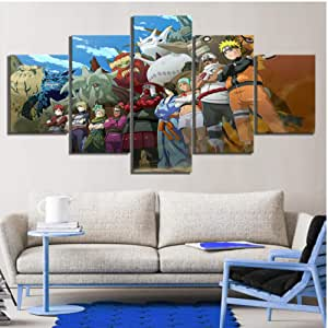 5 Pieces Naruto Anime Painting Canvas Art Paints Wall Sticker Living Room Decor Canvas Artwork HD Wallpaper Murals Oil Painting no framed 20x35x2 20x45x2 20x55cm