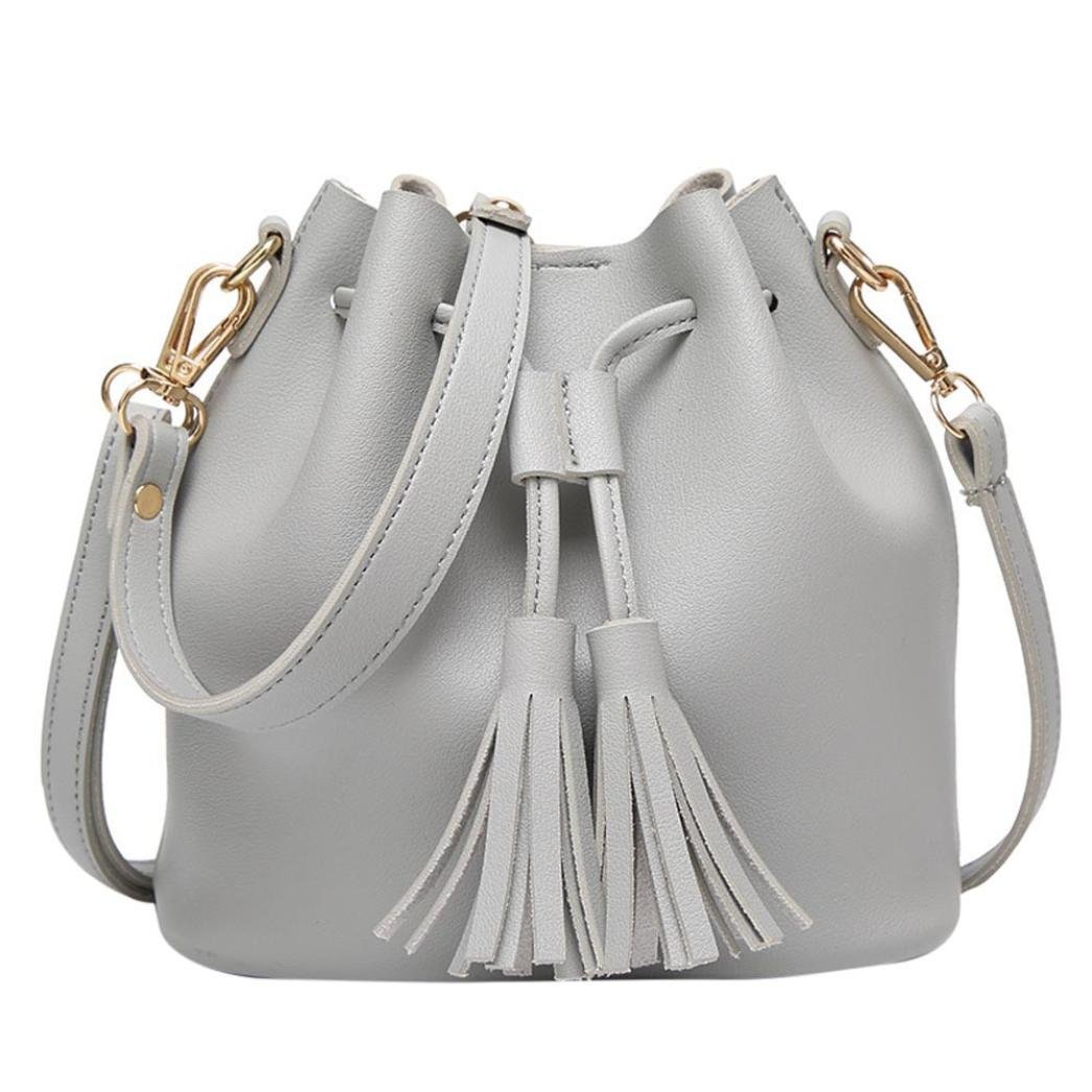 Mysky Bags, Leather Handbag Crossbody Bag Tassel Diagonal Shoulder Messenger Bag (Gray)