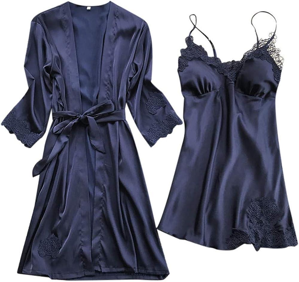 Kehen Women Pajamas Lace Trim Chemise Nightgown /& Belted Wrap Robe Sleepwear Set