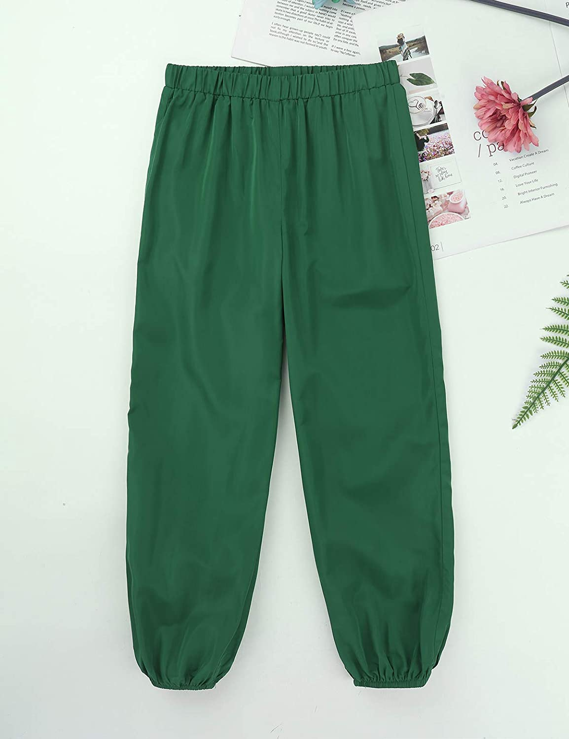 Freebily Girls Loose Perspiration Rip Stop Pants Mid-Rise Full Length Dance Warming up Running Sport Work Out Trousers Activewear