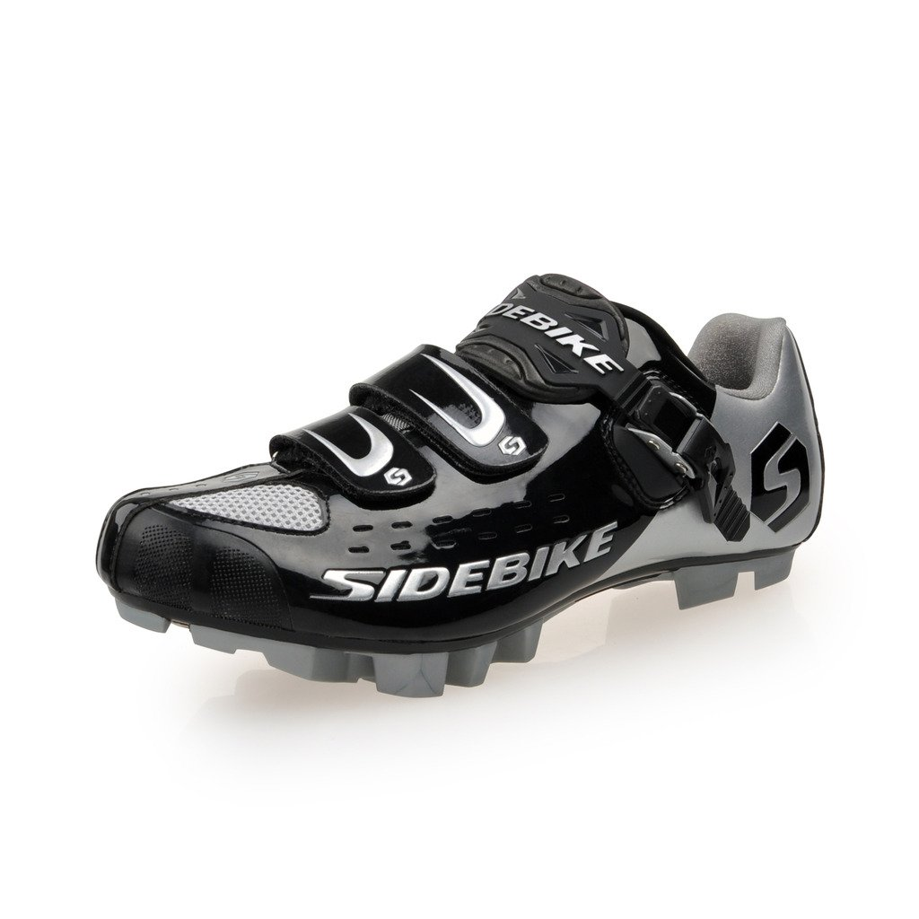 SIDEBIKE MTB Cycling Shoes Men's Professional Mountain Bike Shoe (SD001-Black Silver, EU45/US12/ Ft290mm)
