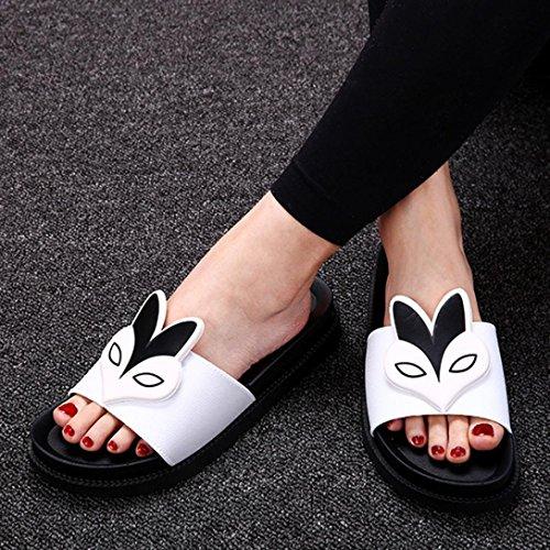 Hunpta Frauen Hausschuhe Sexy flachen Absätzen Sandalen Komfort flachen Absätzen Sommerschuhe Weiß