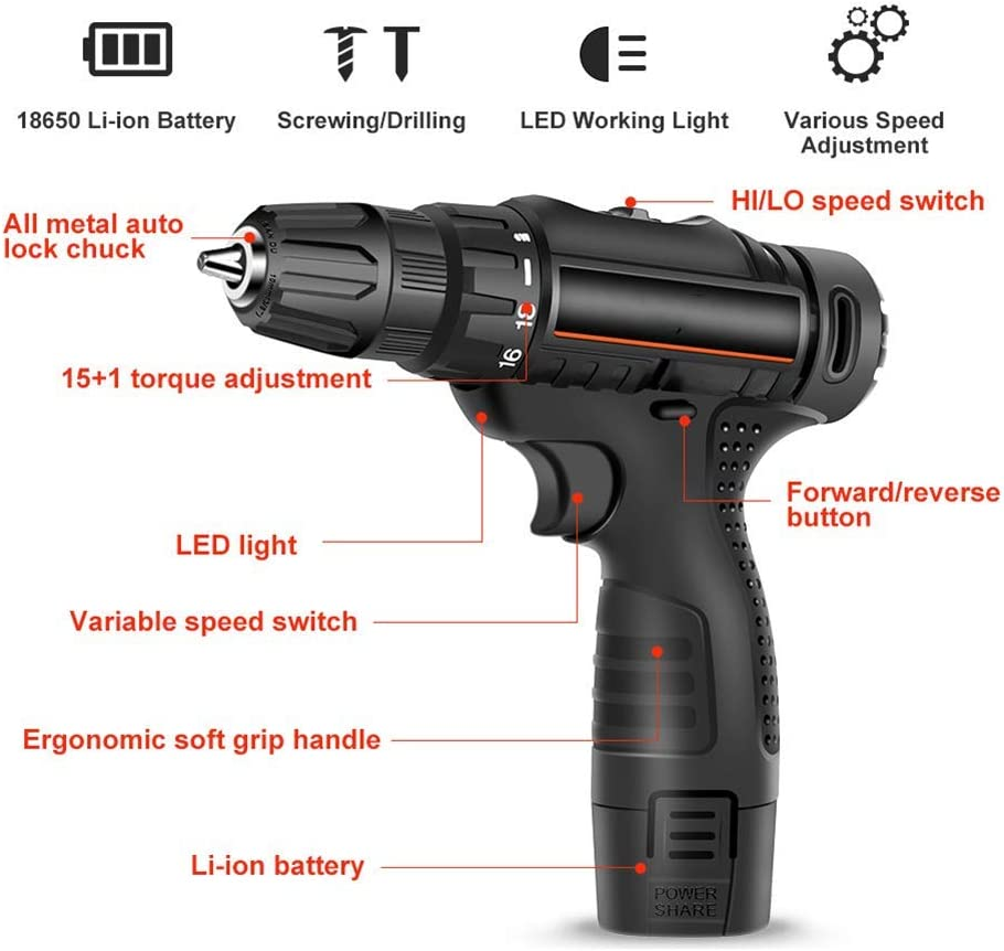 Cordless Drill Driver 12V-Max Li-Ion Combi Drill in Carry Case,LED Work Light,Quick Change Battery and Charger Included Set2