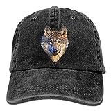 Cool Wolf Head Denim Hat Adjustable Men's Plain Baseball Cap