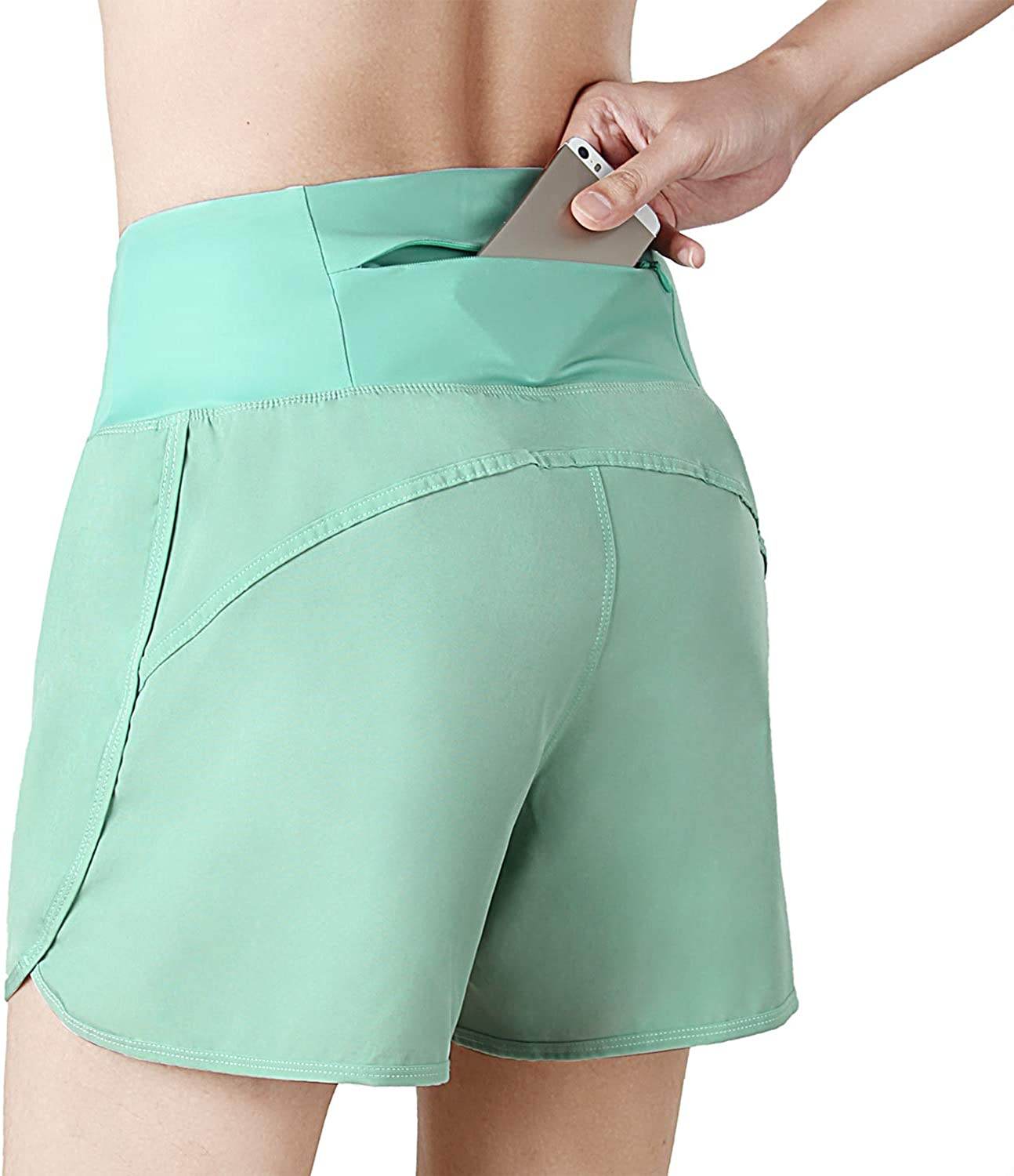 INIBUD Running Shorts for Women with Brief High Waist with Pocket Workout Athletic Yoga 4 Inches