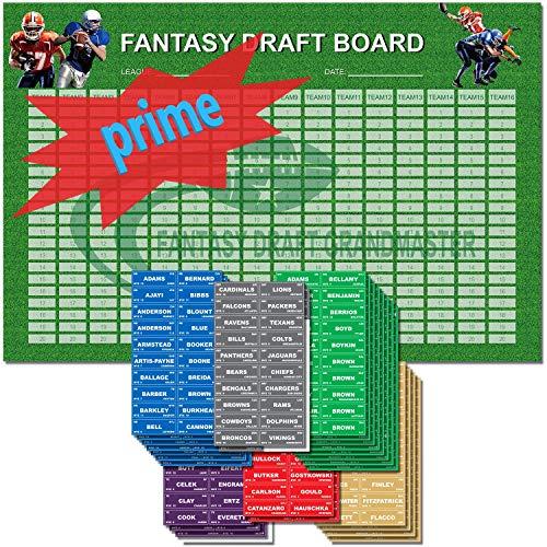 Fantasy Football Draft Board 2019 Kit - 72 x 48-16Teams - 540 Player Sticker Labels