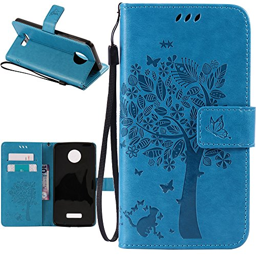 arryshell(TM) Caving Tree Kickstand Flip PU Wallet Leather Protective Case Cover with Card Slot & Wrist Strap for Motorola Moto Z Force Droid (Blue) ()