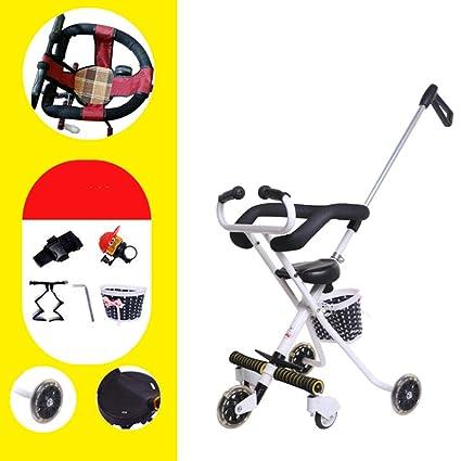 Cochecitos Cinco ruedas Carro de bebé,Doblar Portátil Pedal del cochecito de bebé Bicicleta niño