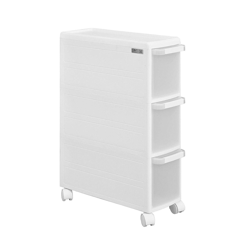 SoBuy® Carrellino salvaspazio,carrellino per il bagno, portaoggetti su rotelle, FRG41-K-W,IT