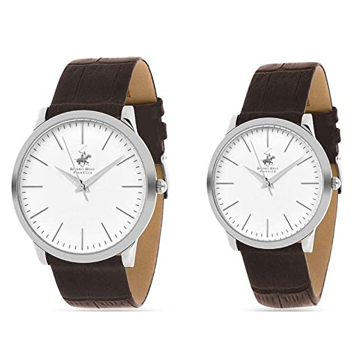 Lot de 2 Relojes Hombre y Mujer con Pulsera de Piel Marca Beverly Hills Polo Club