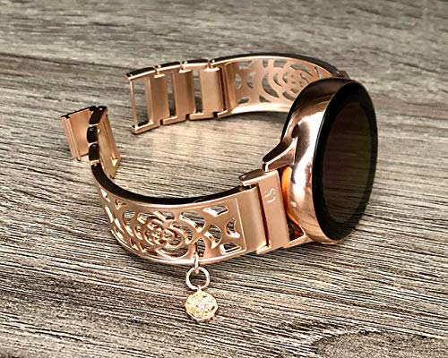 Rose Gold Jewelry Bracelet For Samsung Galaxy Watch 42mm Handmade Brushed Metal Links Band With CZ North Star Charm Pendant Women Fashion Luxury Bangle