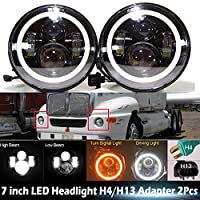 Pair 7 Inch Round LED Headlight 120W for Kenworth T2000 1998-2009 with White & Amber Turning Signal Angel Eyes Halo Ring Hi/Lo Beam OEM 6012 6014 6015 H6017 H6024