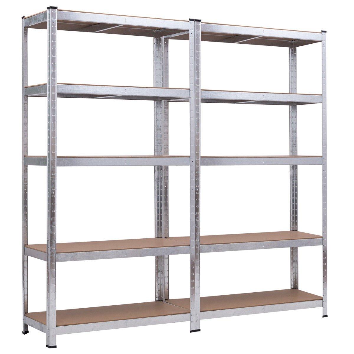 Giantex 2 Pcs 5-Shelf Storage Rack Steel Garage Shelving Unit 5 Adjustable Shelves Heavy Duty Rack Multipurpose Display Stand Utility Rack for Books, Clothes, Kitchenware, Tools Bolt-Free Assembly