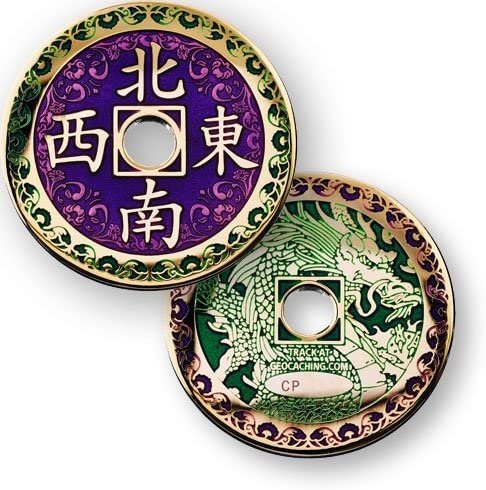 Geocaching Coin Chinese Dragon Travel Bug Geocoin Polished Gold Coins And Pins Amazon Co Uk Sports Outdoors
