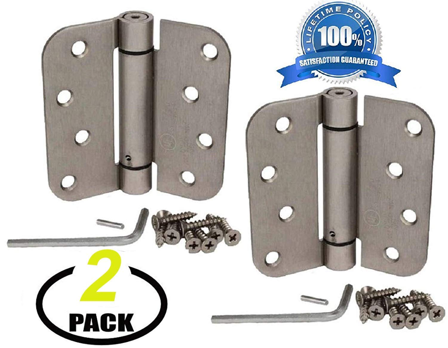 Nuk3y Commercial Grade Heavy Duty 2 Pack UL Rated 4 x 4 Spring Hinge 5//8 Radius Oil Rubbed Bronze