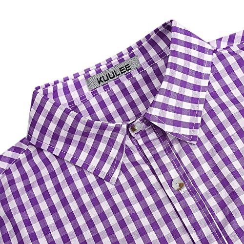 pour de style chemise longues manches brodé traditionnelle country la violet chemise en à carreaux loisirs ajustée coupe décontractée bière Kojooin chemise affaires carnaval homme chemise coton fête à BHwxI