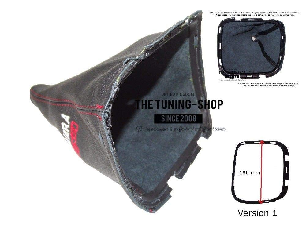 The Tuning-Shop Ltd for Nissan Navara 05-12 Shift Boot with Plastic Frame 180 mm Leather Navara 4x4 Embroidery