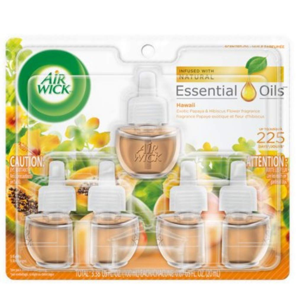 Air Wick Scented Oil 5 Refills, Hawaii, (5X0.67oz), Air Freshener (4-Pack (5 Count))