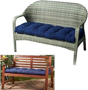 Outdoor Bench Seat Cushion Cotton Garden Furniture Loveseat Cushion Patio Non-Slip Lounger Chairs Back Cushions Seat Pillows (Navy)
