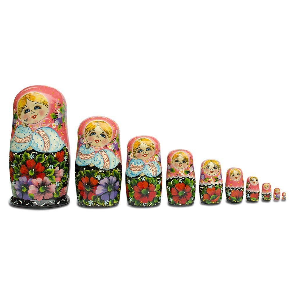 11'' Set of 10 Girl in Pink Scarf and Embroidered Blouse Russian Nesting Dolls