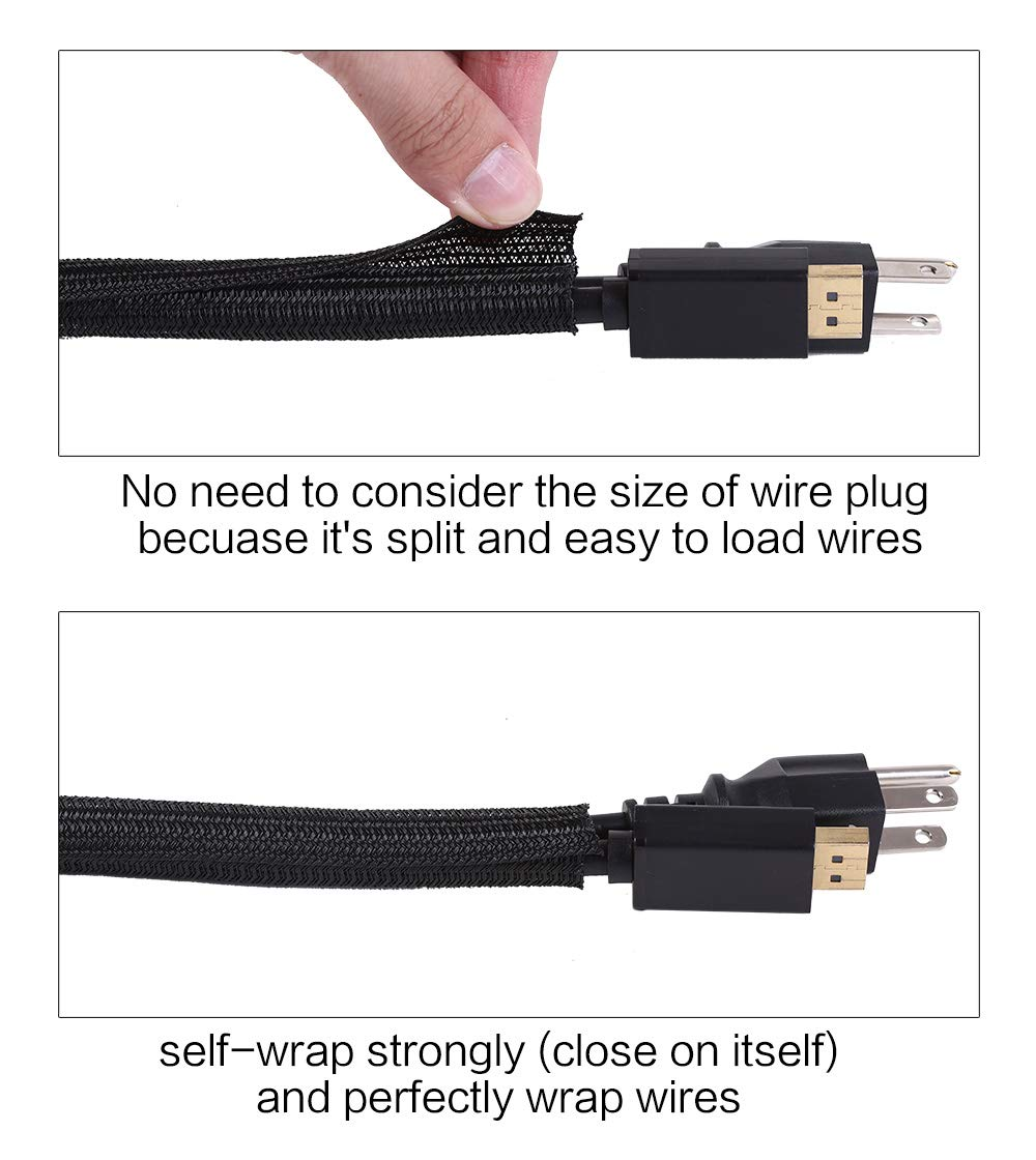 1//2 inch Cable Management Sleeve Wire Loom Cord Protector Black Self Wrap Braided Cable Split Sleeving Cord Organizer for TV Computer Automotive Office Home Entertainment Keco 25ft
