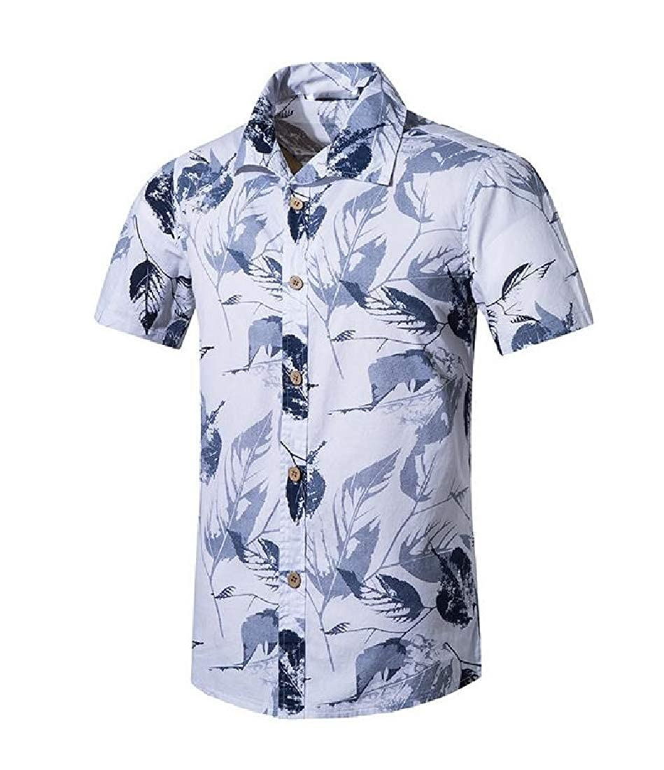Comaba Mens Summer Relaxed Fit Beach Single Breasted Classic Work Shirt