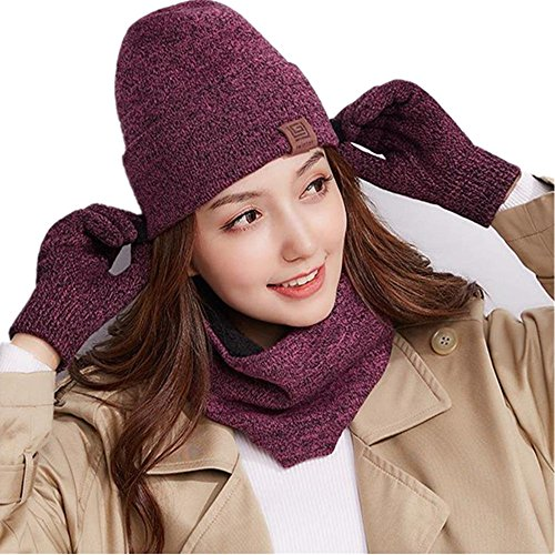 Knit Beanie Touch Screen Gloves + Hat + Scarf,Unisex 3 PCS Set Winter Warm Set For Men Women Children (Rose Red)