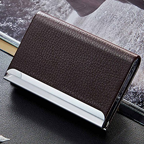 Aluminum PU Leather Business Credit Card Name Id Card Holder Case Wallet Box (Brown)