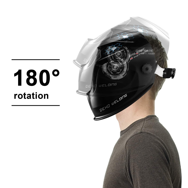 DEKOPRO Solar Powered Welding Helmet Auto Darkening Hood with Adjustable Wide Shade Range 4/9-13 for Mig Tig Arc Welder Mask by DEKOPRO (Image #6)