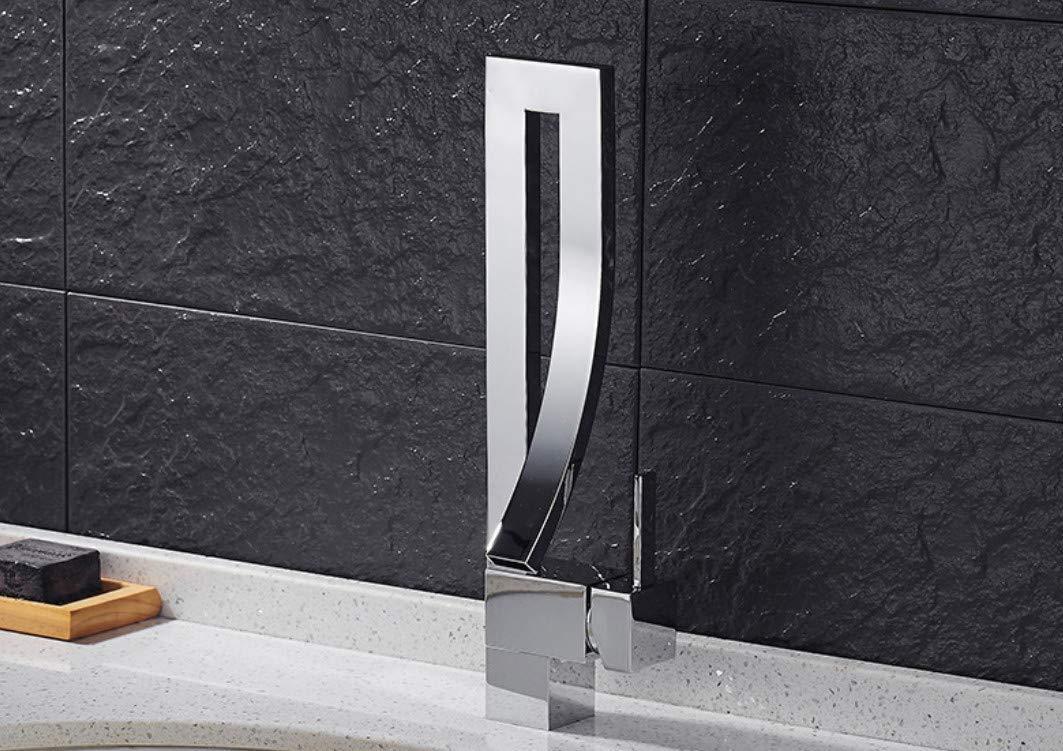 JingJingnet 浴室の洗面器の蛇口真鍮製ブラックブラシニッケルオイルこすりブロンズ蛇口洗面台のシンクミキサータップシンク洗面化粧台の蛇口 (Color : A) B07RJHJHRQ A