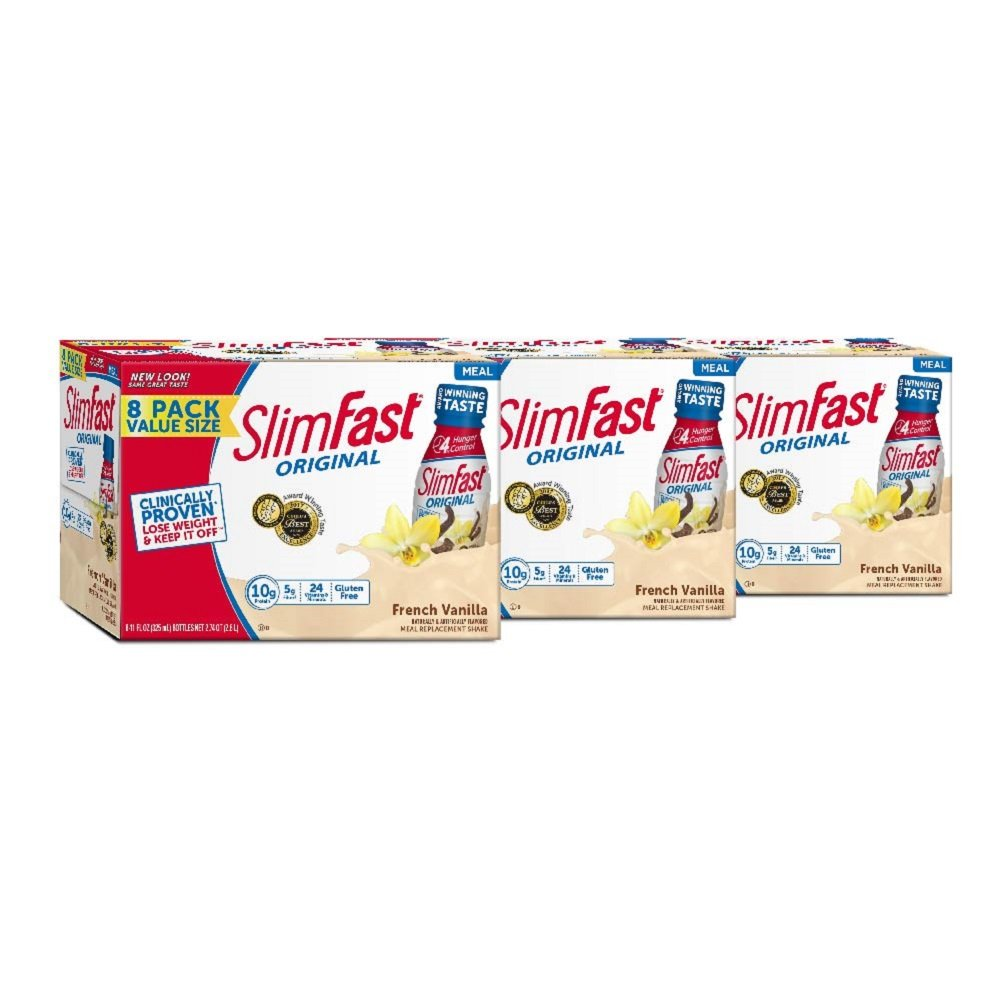 SlimFast Original French Vanilla Shake - Ready to Drink Weight Loss Meal Replacement - 10g of protein -  11 fl. oz Bottle - 8 Count (Pack Of 3)