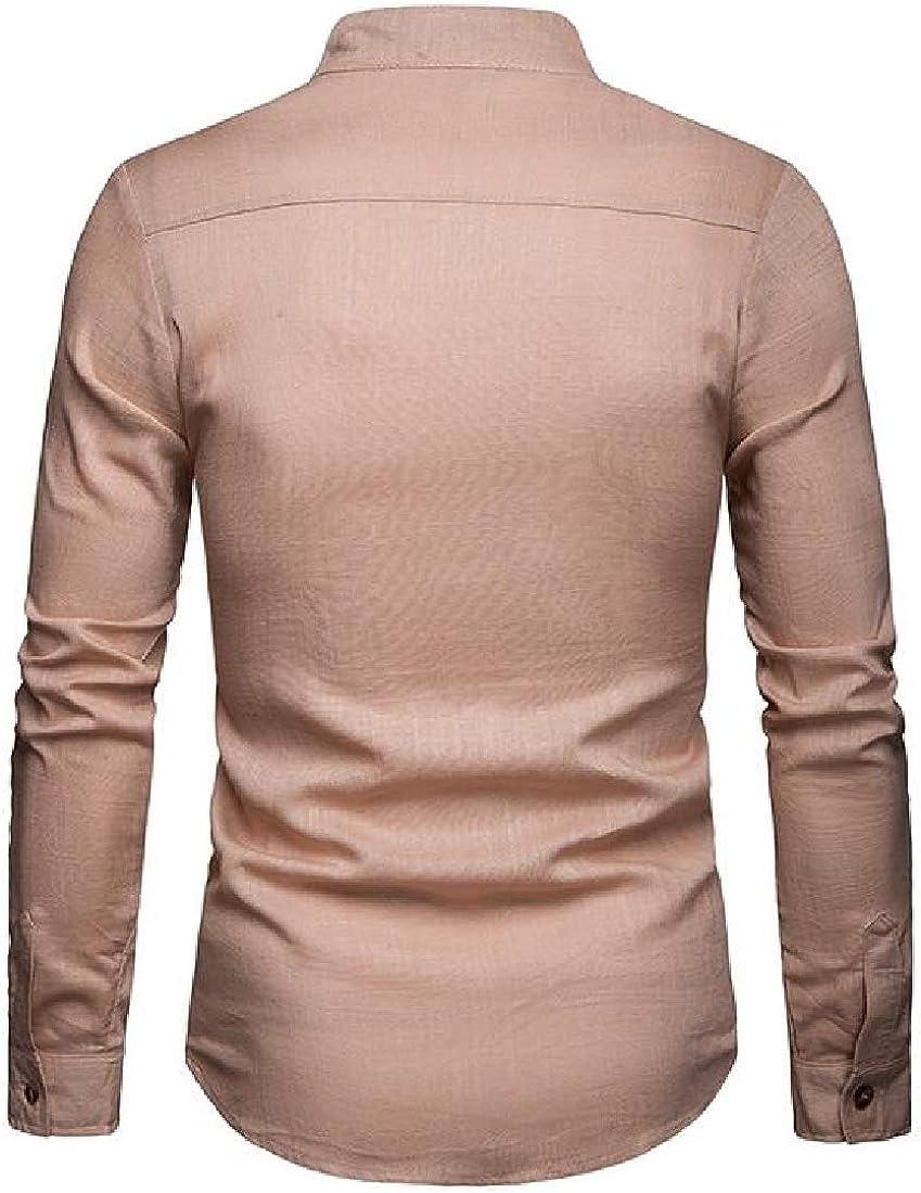 Jotebriyo Men Loose Button Down Long Sleeve Cotton Linen Casual Dress Work Shirt