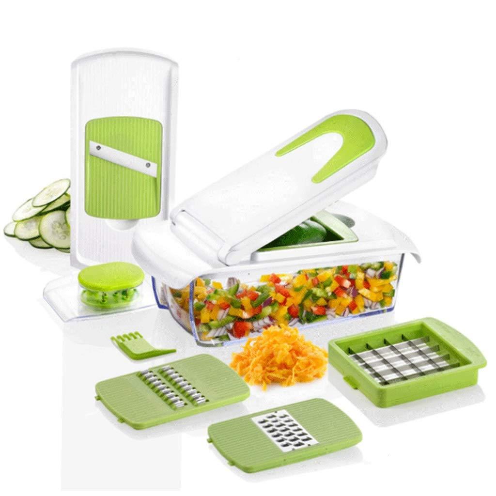 BingWS Graters Grater Vegetable Cutter Mandoline Slicer Dicer/Onion Chopper/Vegetable Peeler/Spiralizer Vegetable Slicer Shredder Vegetable Cutter Spiralizer(7 in 1) Food Processor (Color : D) by BingWS