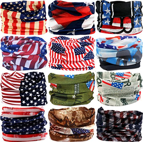 VANCROWN Headband Head Wrap Headwear Sport Sweatband 280 Patterns 12 in 1 Magic Scarf 12PCS 9PCS & 6PCS (12PCS.The Stars and Stripes.1)