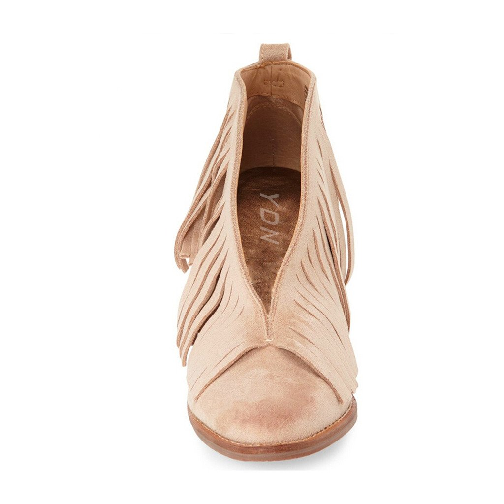 YDN Western Ankle High Boots with Tassels Round Toe Block Heel Suede Retro Booties B01KC29LUA 9 B(M) US|Beige