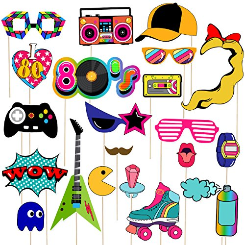 LUOEM 21pcs 80s Photo Booth Props Funny Birthday Party Photo Props Wooden Sticks Creative Party Supplies, Perfect 1980s Theme Birthday Party Decoration Accessories