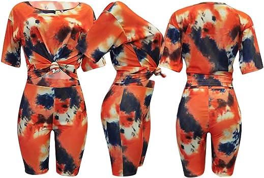 Conjunto de Pantalones Cortos de Dos Piezas para Mujer, Corbata ...