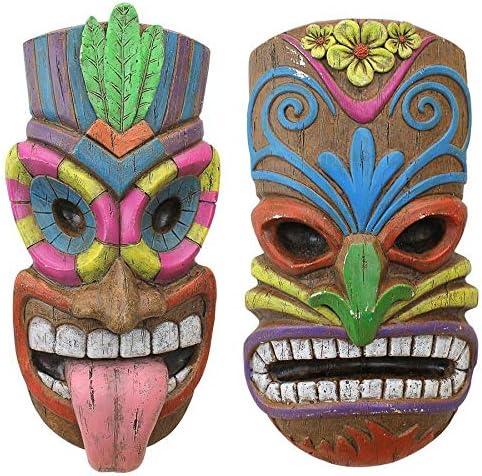 Design Toscano Tiki Gods of The Hawaiian Isle Plaques, Full Color