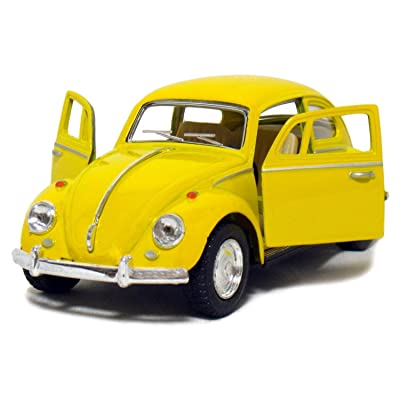 HCK 1967 Classic VW Beetle Bug - Pull Back Toy Cars 1:32 Scale (Yellow): Toys & Games