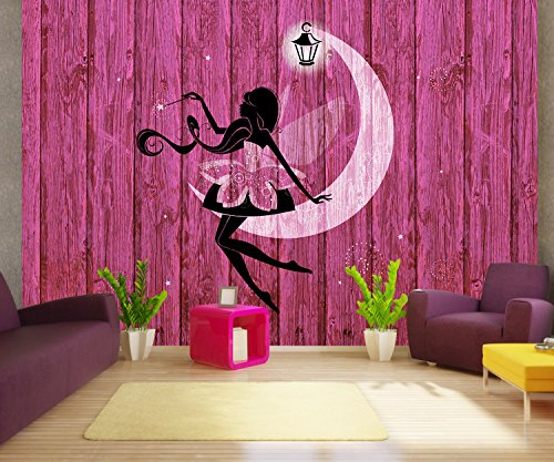 - wandmotiv24 Wall Mural Portrait of a Beautiful Fairy with Wooden Background M0690 S 78.7 x 55.1 inches - 4 Parts Mural - Motif Wallpaper