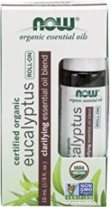 Now Essential Oils, Eucalyptus Roll-on, Certified Organic, Clarifying Blend, Steam Distilled, Topical Aromatherapy, 10-ml