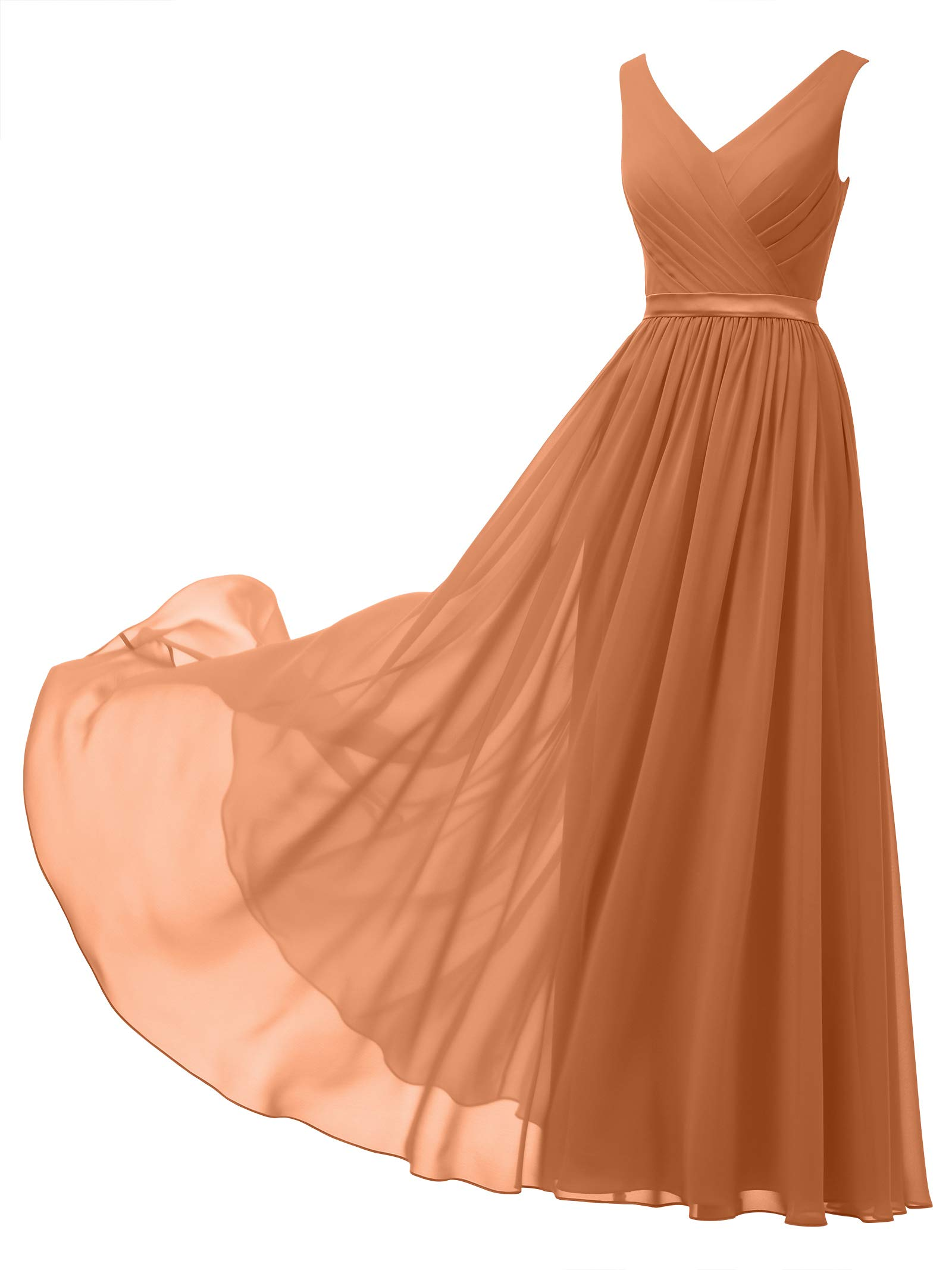 Alicepub V-Neck Chiffon Plus Size Bridesmaid Dress Long Party Prom Evening  Dress Sleeveless, Burnt Orange, US24