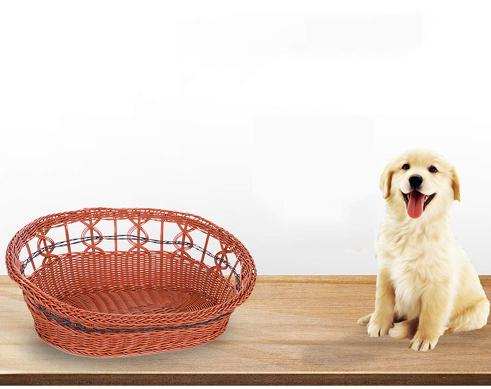 Brown Small Brown Small Rattan Kennel Summer Small and Medium Kennel Cat Litter Pet Supplies Removable Wash Pet Bed,Brown,S